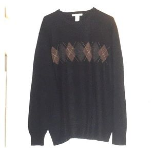XXL Black Crewneck Sweater w/ Argyle Detail